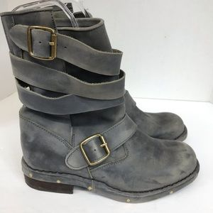 Jeffery Campbell Brit Boot Moto Gray Distressed 7